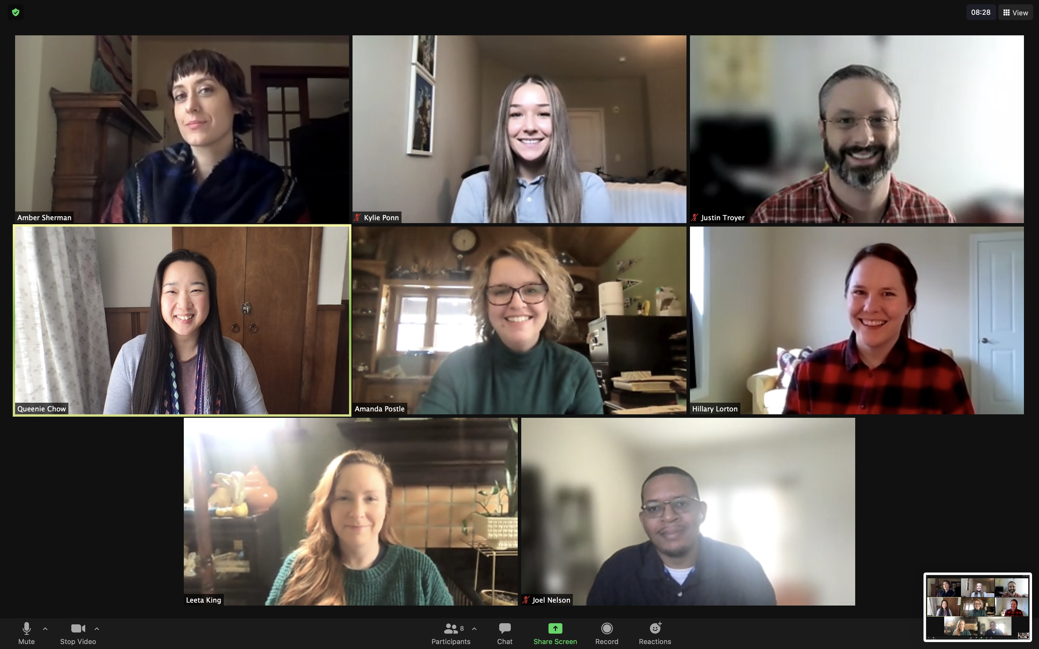 Zoom meeting screenshot with Innovate 2021 chairs smiling, on hover the chairs are using fun filters and making silly faces